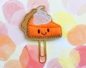 SALE CLEARANCE DESTASH, Planner Clip, Pumpkin Pie Planner Clip, Bookmark, Stocking Stuffer
