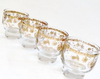 Vintage CULVER Glasses - Gold CHANTILLY Glasses - Culver Shot Glasses - Mid Century Modern Glasses - 1960's
