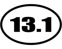 13.1 Miles Half Marathon Euro Oval V#2 Decal Sticker Car Truck Window Laptop Die Cut Vinyl Select Color/Size