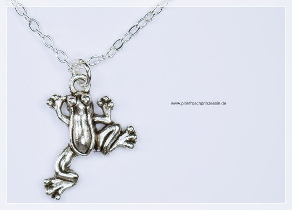 Necklace frog pendant on silver chain frog jewelry