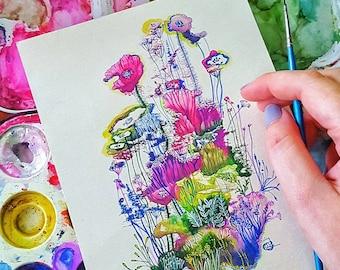 Original Watercolor Postcard - Flowers Explosion