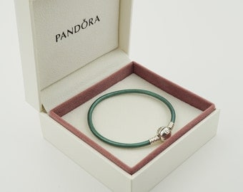 Genuine Authentic PANDORA Smooth Teal Leather Bracelet (S925 ALE) 20cm (Boxed) free postage