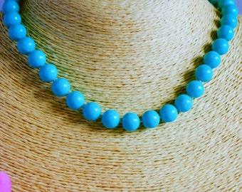 Necklace, vintage necklace, 1950s necklace, bead necklace, aqua necklace