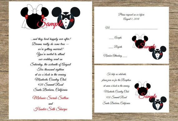 Disney Wedding Invitation Wording: Items Similar To 100 Personalized Custom Disney Mickey And