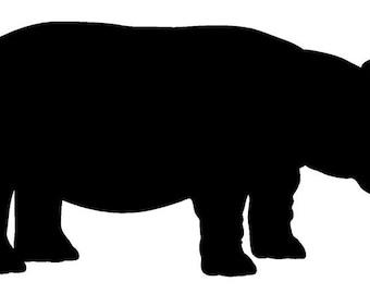 Hippo Black Vinyl Sticker