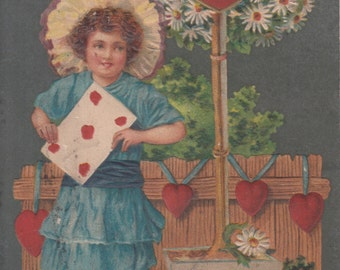 Vintage Valentine Postcard -  Loving Wishes Little Girl Holds Valentine Card with Hearts