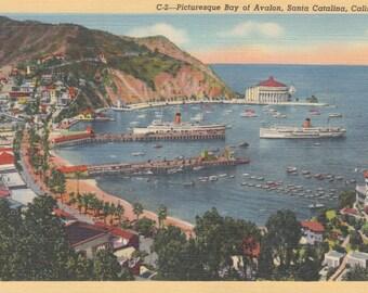 Santa Catalina, California Vintage Postcard - Picturesque View of Avalon Bay 1939