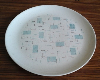 Vernonware, Heavenly Days Dinner Plate, 50s MCM Aqua, Pink Plate