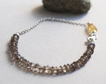 Delicate Smokey Quartz & Citrine Gemstone Bracelet w/ Sterling Silver, Minimal Healing Jewelry, 5mm Brown Yellow Semi Precious Stone Beads