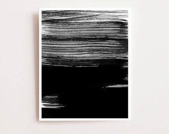 Abstract wall art print, black and white strokes - Fine art Giclee print, Wall art, abstract art, modern art, black and white