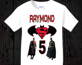 Batman vs Superman Birthday Shirt - Batman and Superman Boy's Shirt - Tank Top Available