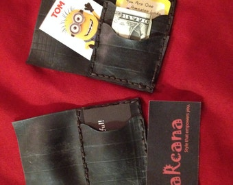 Recycled Rubber Business Card holder (pictured on left) and wallet (on right)