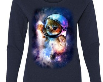 Cat Astronaut In Space Woman's Long Sleeve