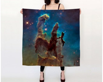 Nebula Silk Scarf, Milky Way Galaxy Scarf, Fashion Accessories, Gift for Her, Pillars of Creation