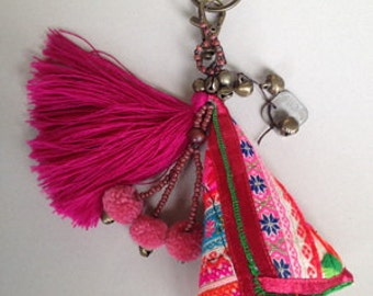 Keyring, Keychain handmade,hmong cotton triangle fabric,tufted,bell,bead ,
