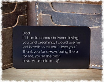 Mens Personalized Gift ~ Engraved Gift ~ Father's Day Gift ~ Mens Gift ~ Husband Gift ~ Gift for Dad ~ Engraved Wallet Insert ~ Personalized