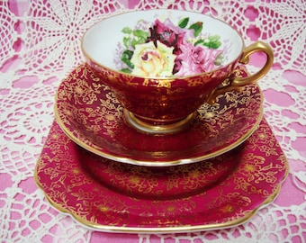 Gorgeous Vintage STANLEY ROSES Cup, Saucer & Side Plate.