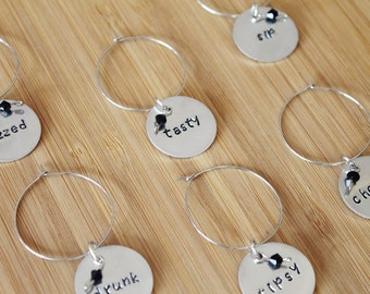 hand stamped wine tags