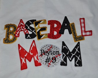 Baseball Mom Custom Made T-shirt