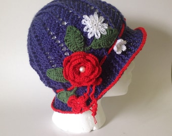 Crochet Panama hat, clouche hat, Easter hat, flower hat, panama hat, girls hat, womens hat