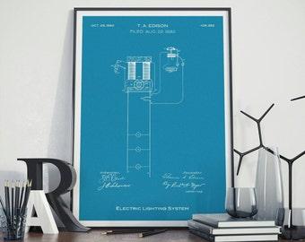 Thomas Edison Electric Lighting System Patent Art, Thomas Alva Edison Electric Blueprint Poster
