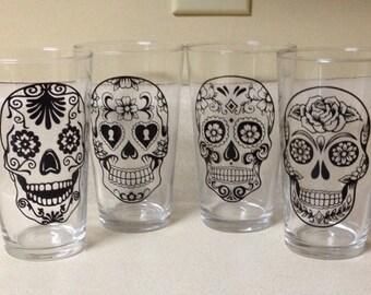 Sugar Skull Pint Glass Set of 4