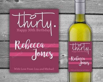 PRINTABLE - Custom - Birthday Wine Label - Any Age 30, 40, 50 - Birthday Wine Label - Birthday Wine Label Any Age - DIY - 0039