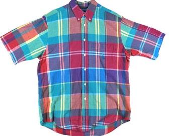 Vintage NAUTICA Plaid MEN'S Button Up Shirt Medium