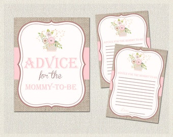 Advice for the mommy to be | Floral Baby Shower Activities Burlap Shabby Chic | Advice for Parents  Girl BS-159