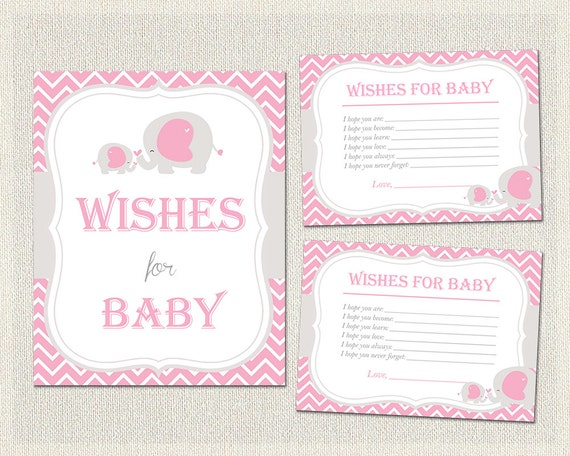 baby shower wishes for baby cards girls pink gray elephant theme, Baby shower invitation