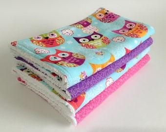 Baby Burp Cloths Set of 4, Baby Shower Gift, New Mum, Girls burp cloth, Animal burp cloth, Feeding, Newborn Burp Cloth, Owl Burp Cloth, Pink