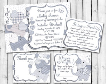 Grey white Elephant baby shower printable invitation set baby boy digital invite with inserts thank you bring a book Diaper Raffle card