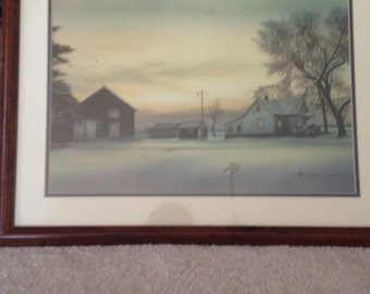 Beautiful wood framed winter scene. Signed water color print