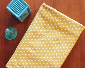 Swaddle Blanket - Mustard Polka Dot - Cotton Knit- Gender Neutral