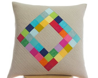 Quilted pillow cover 50cm x 50cm - Handmade patchwork - decorative pillow cover - decorative throw pillow cover