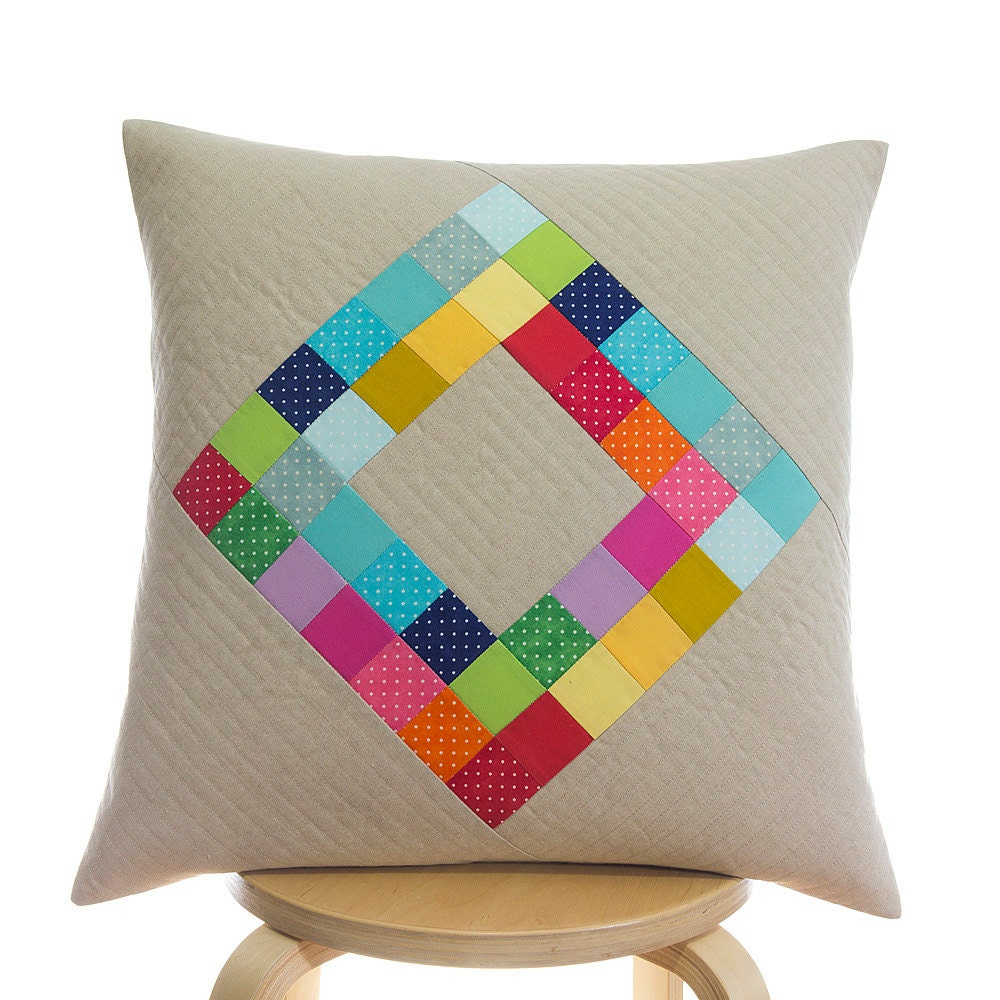 Quilted pillow cover 50cm x 50cm Handmade patchwork
