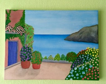 Original watercolour and acrylic painting of Mediterranean scene on canvas
