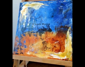 Abstract Acrylic Painting - 12x12 Blue and Orange