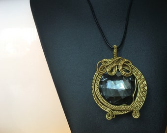 Mirror Effect Gold Wire Wrapped Pendant Necklace