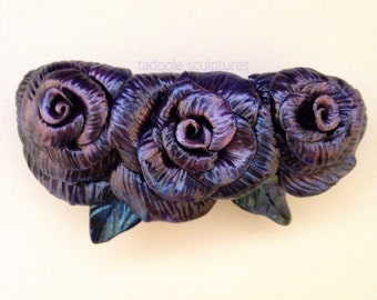 Purple Rose Hair Barrette