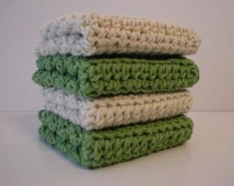 Handmade Crochet Dishcloths Washcloths 4-Pk, 2 Sage Green, 2 Cream  (#2049)