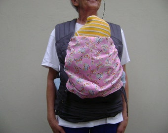 Charcoal Cotton Twill/Pink cotton print Baby Carrier