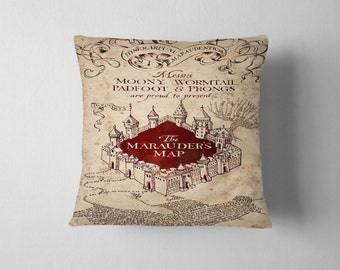 Marauder's Map Hogwarts School Harry Potter Decorative Pillow