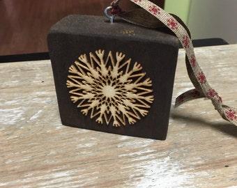 Reclaimed wood block snowflake ornament