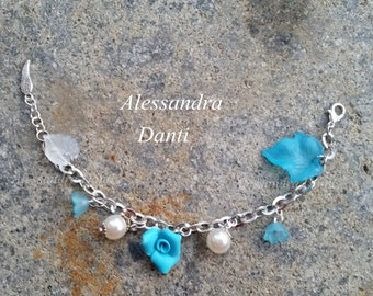 Heavenly bracelet with flowers and leaves.