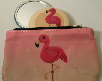 Pink Flamingo Coin Purse + matching mirror