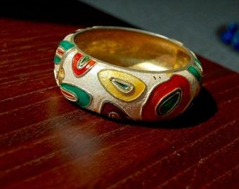 Vintage Enamel Hinged Bracelet