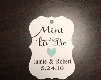 Mint to be, favor tags, wedding favor tags, engagment favor tags, set of 25