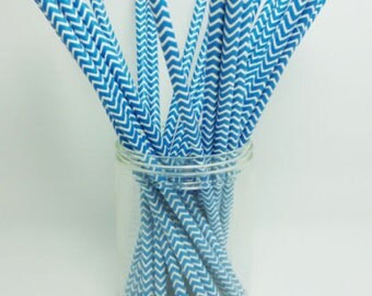 Paper Straws Colorful Chevron Striped Drinking Straw/ 25