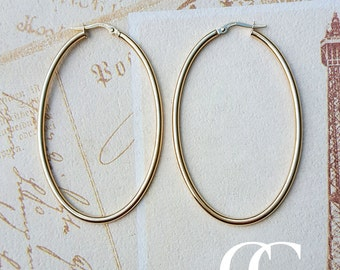 Ladies Fine 9ct Yellow Gold Large Statement Oval Hoop Earrings